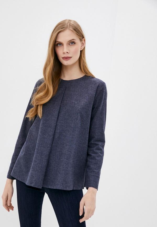 женская блузка stefanel, синяя