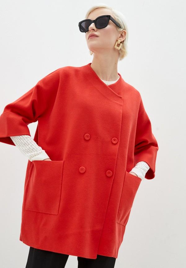 женское пальто stefanel, красное