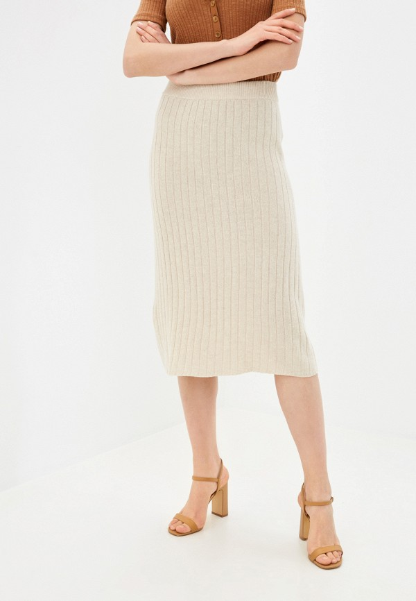 женская прямые юбка stefanel, бежевая