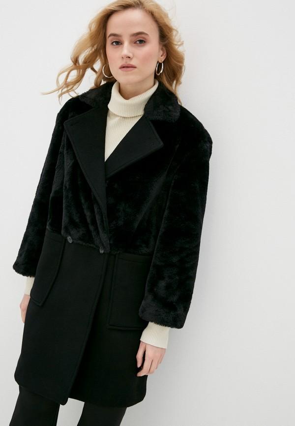 женское двубортные пальто stefanel, черное