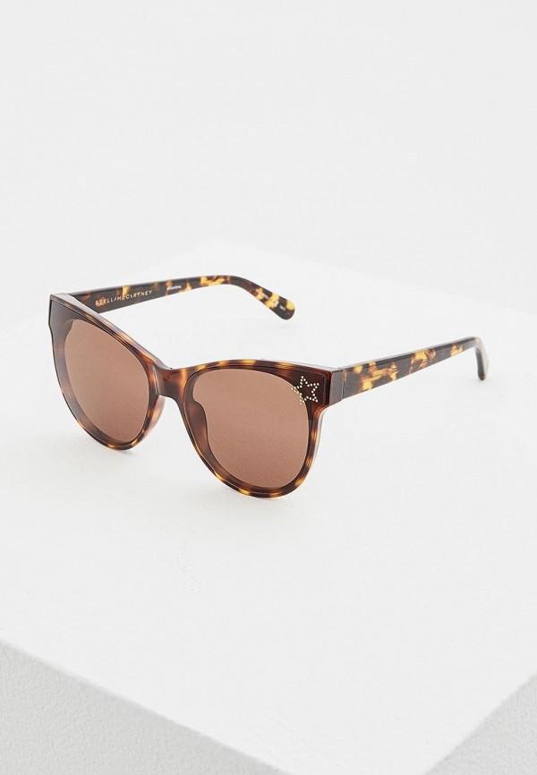 женские солнцезащитные очки кошачьи глаза stella mccartney, коричневые