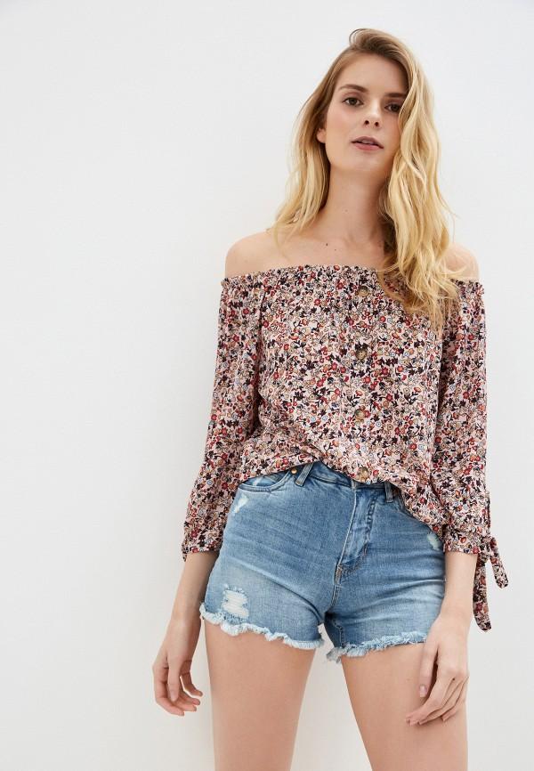 женская блузка с открытыми плечами sublevel, розовая