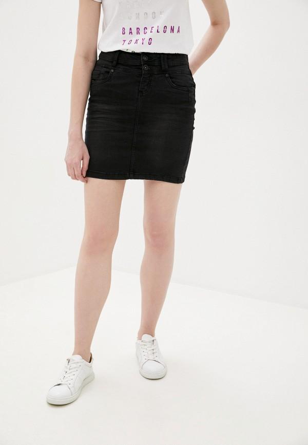 женская джинсовые юбка sublevel, черная