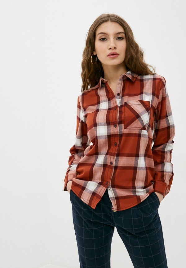 женская рубашка с длинным рукавом sublevel, коричневая