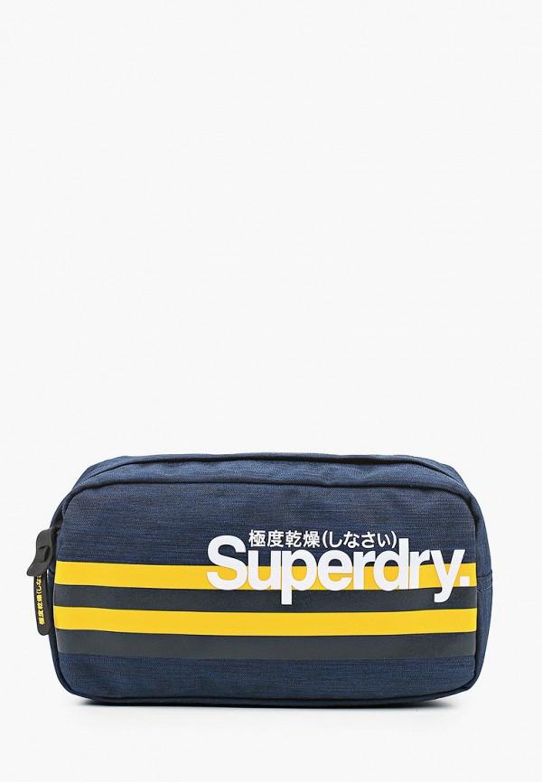 мужская сумка superdry, синяя
