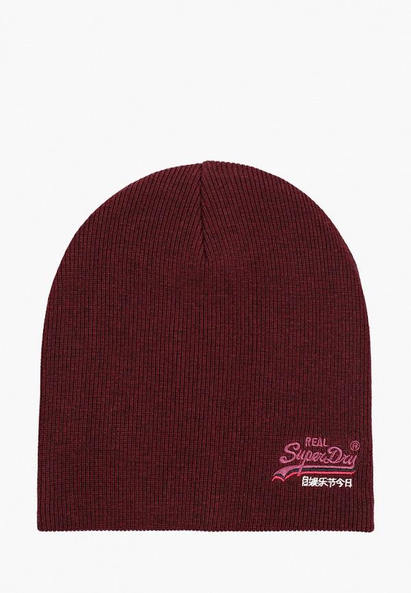 мужская шапка superdry, бордовая