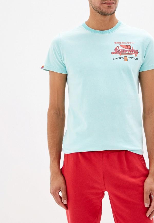 мужская футболка с коротким рукавом superdry, бирюзовая