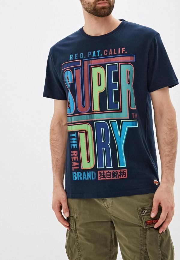 Фото - Мужскую футболку Superdry синего цвета