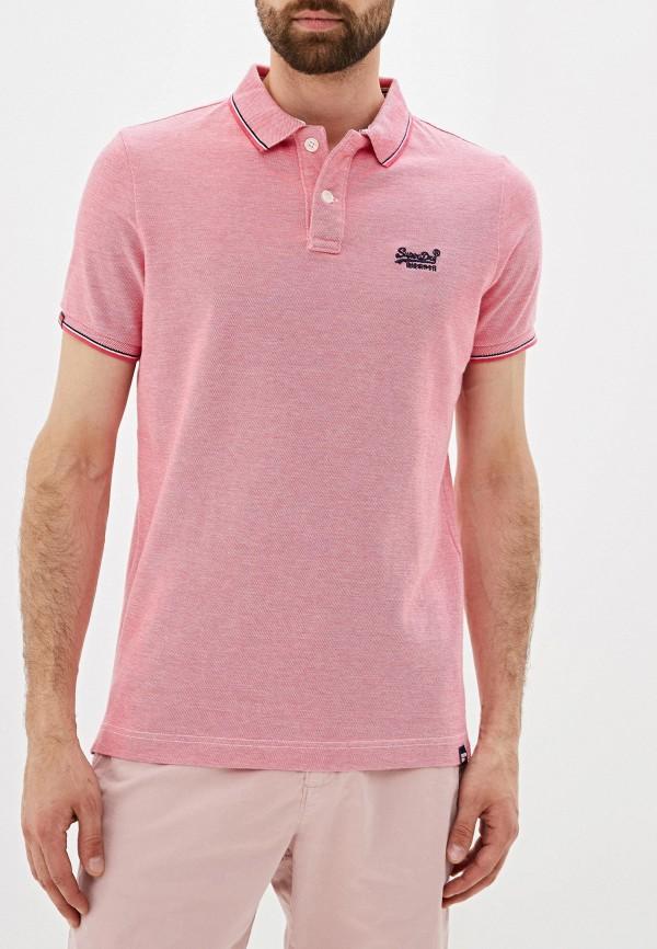 мужское поло superdry, розовое