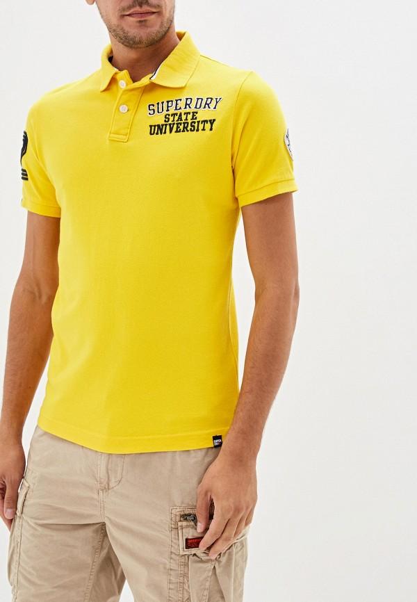 мужское поло superdry, желтое