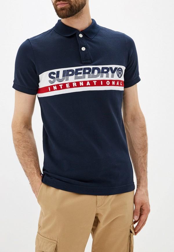 мужское поло superdry, синее