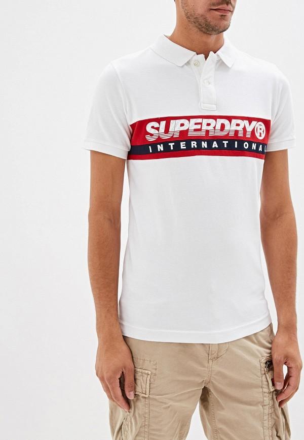 мужское поло superdry, белое