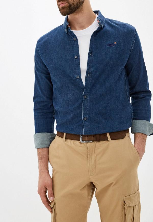 мужская джинсовые рубашка superdry, синяя