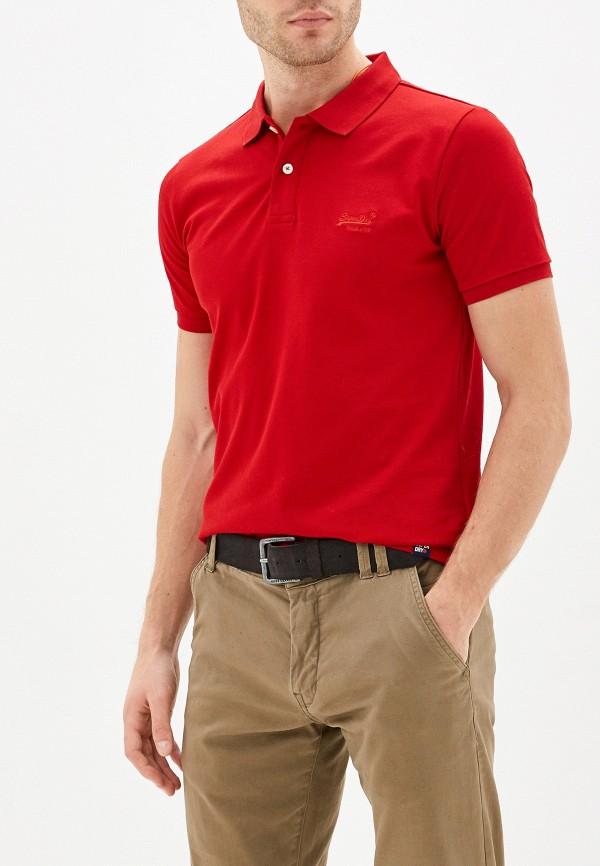 мужское поло superdry, красное