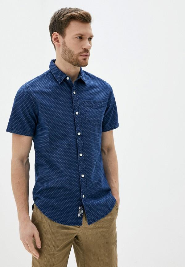 мужская рубашка с коротким рукавом superdry, синяя