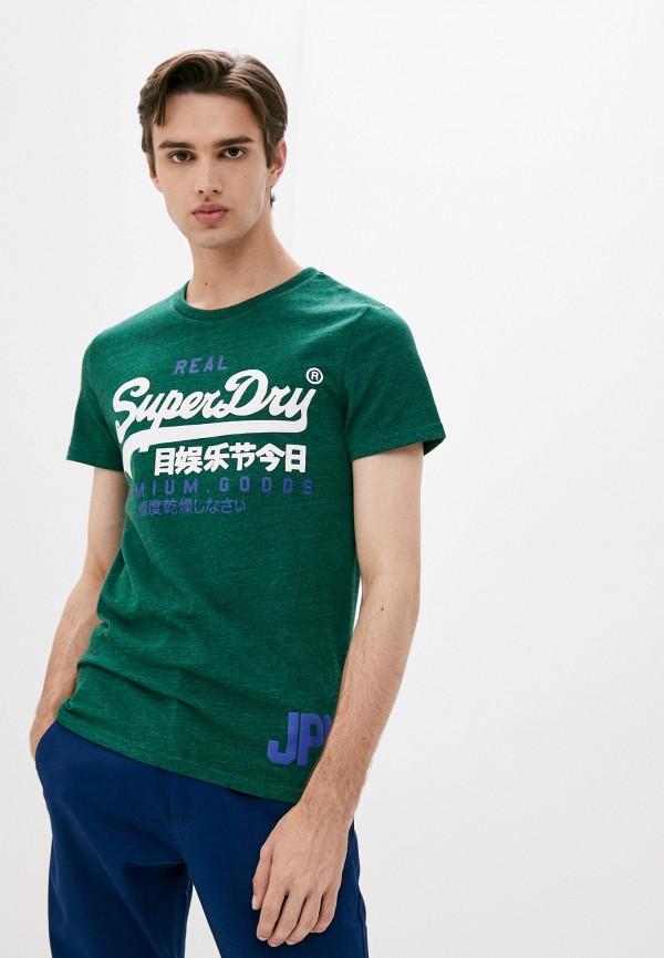 мужская футболка с коротким рукавом superdry, зеленая