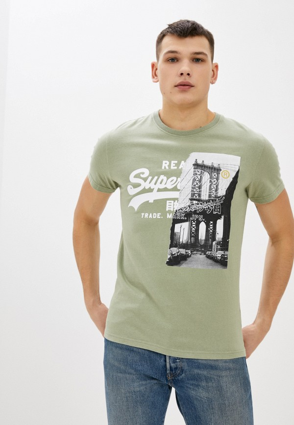мужская футболка с коротким рукавом superdry, хаки