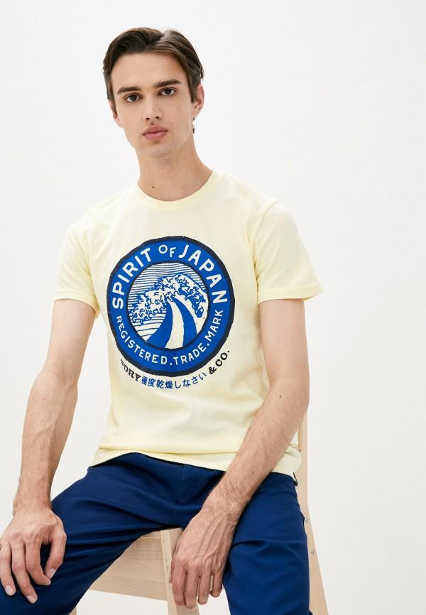 мужская футболка с коротким рукавом superdry, желтая