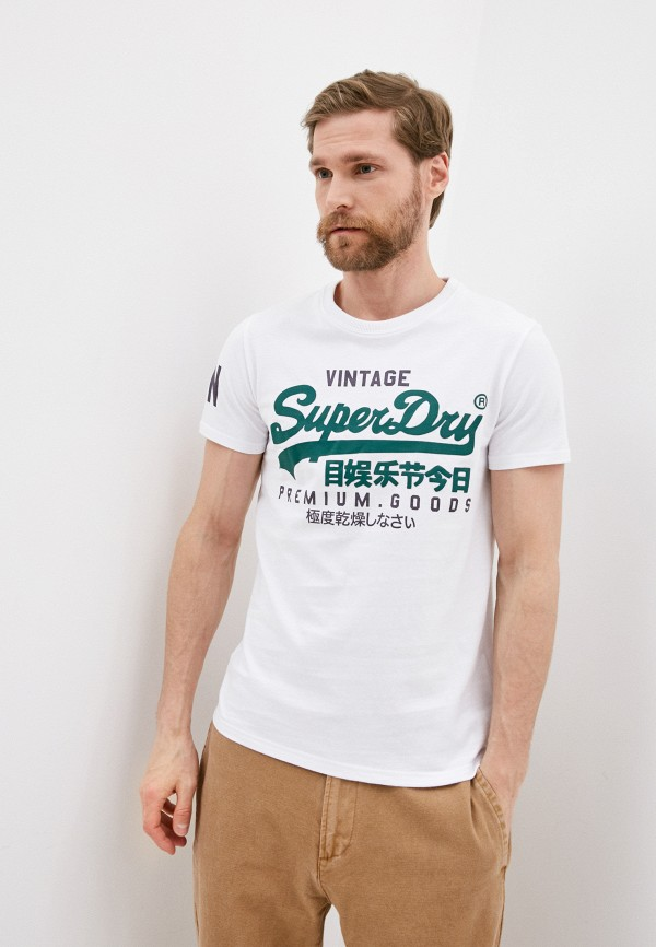 мужская футболка с коротким рукавом superdry, белая