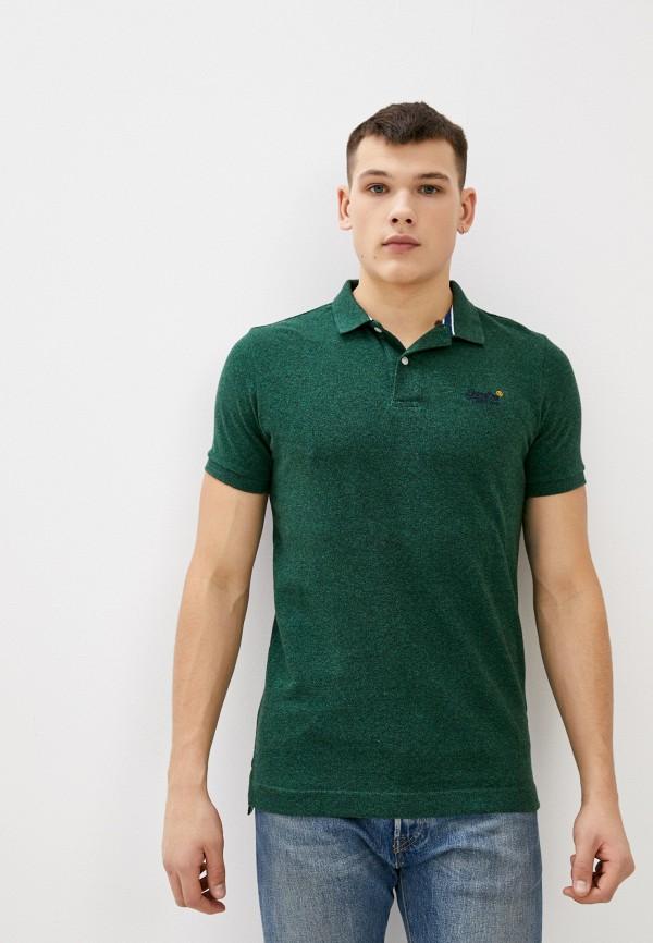 мужское поло superdry, зеленое