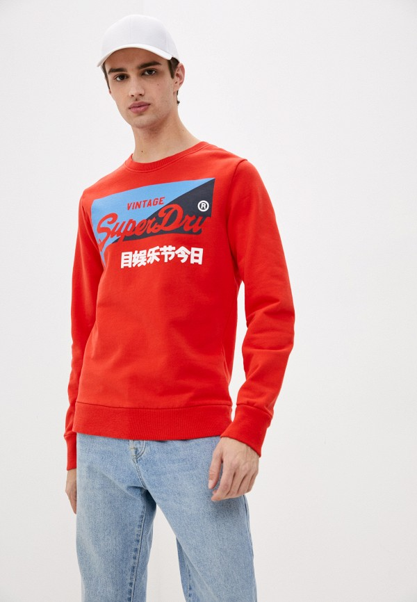 мужской свитшот superdry, красный