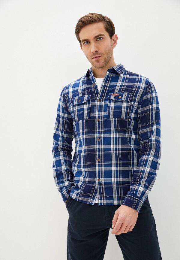 мужская рубашка с длинным рукавом superdry, синяя