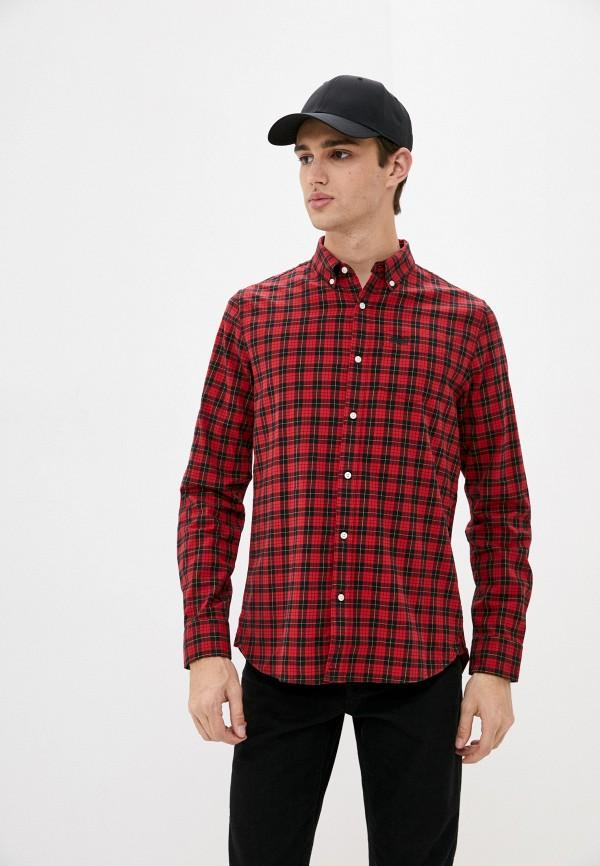 мужская рубашка с длинным рукавом superdry, красная