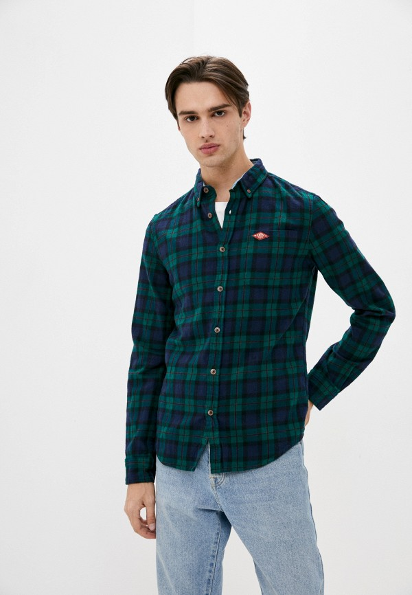 мужская рубашка с длинным рукавом superdry, зеленая