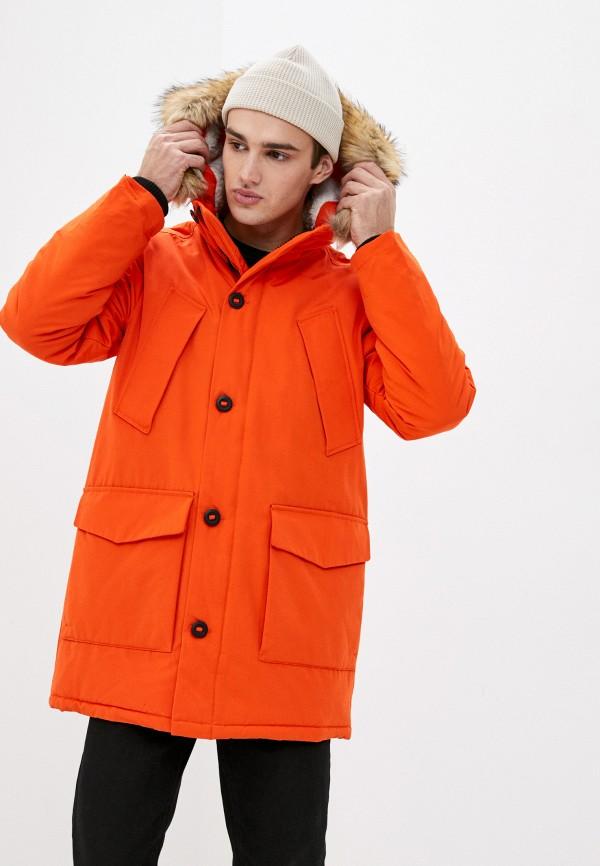 мужская парка superdry, оранжевая