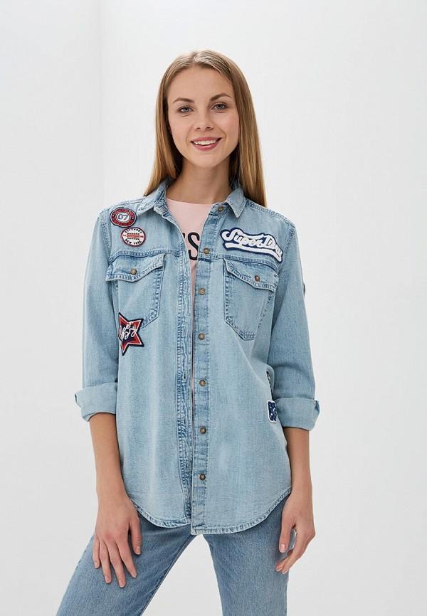 женская джинсовые рубашка superdry, голубая