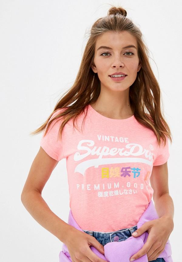 женская футболка superdry, розовая