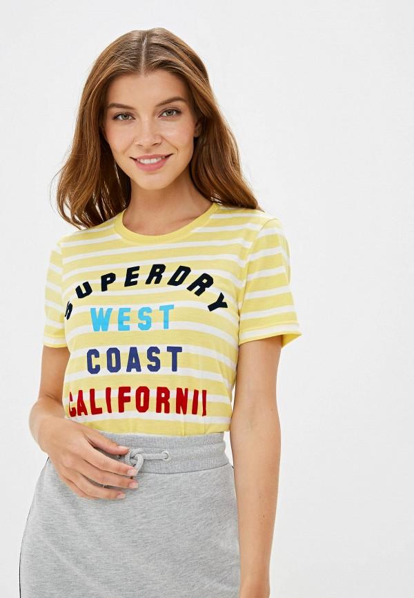 женская футболка superdry, желтая