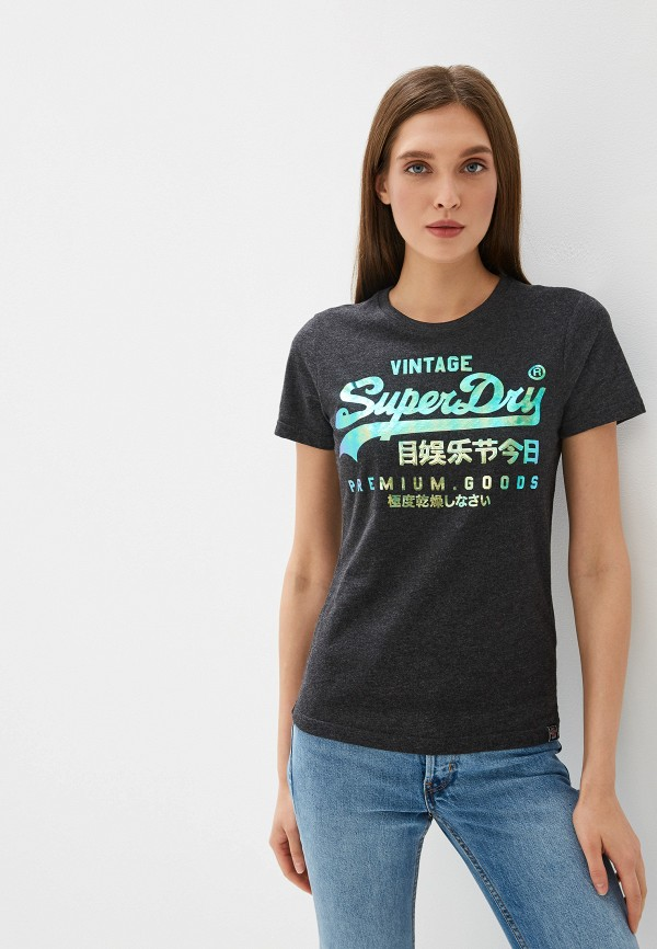 женская футболка superdry, серая