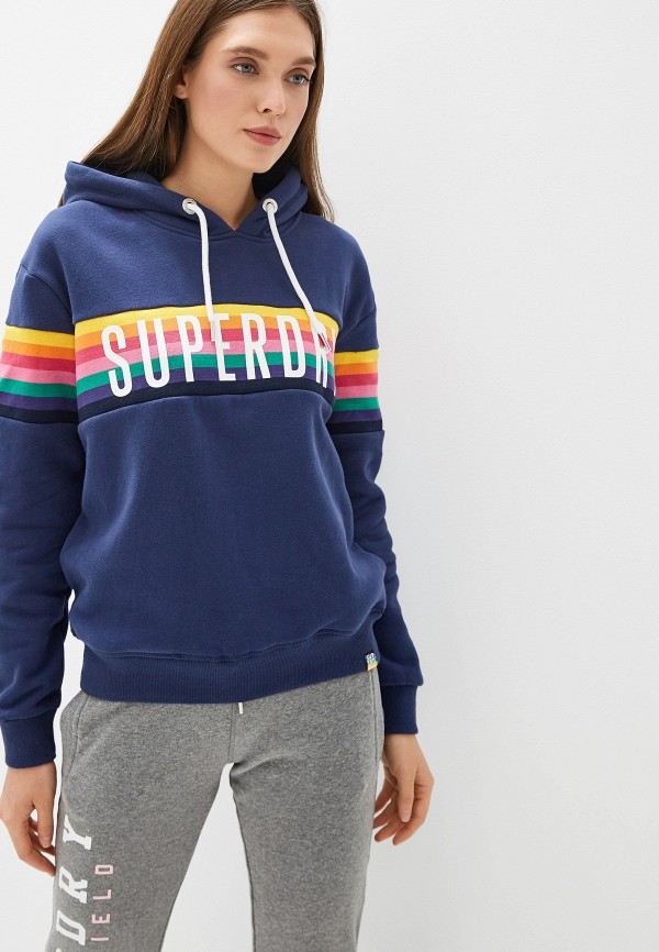 женские худи superdry, синие