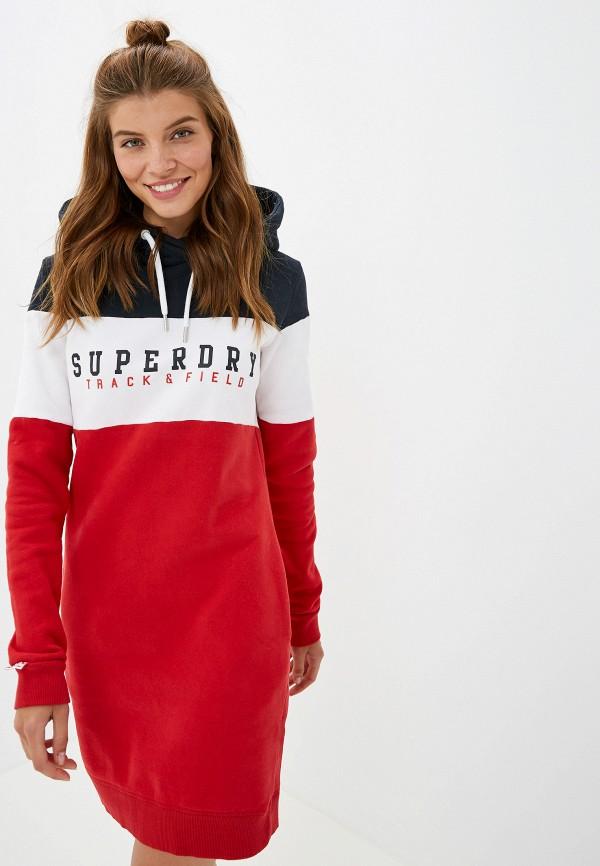 женское платье superdry, красное