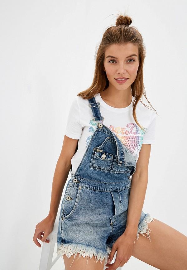 женский джинсовые комбинезон superdry, синий