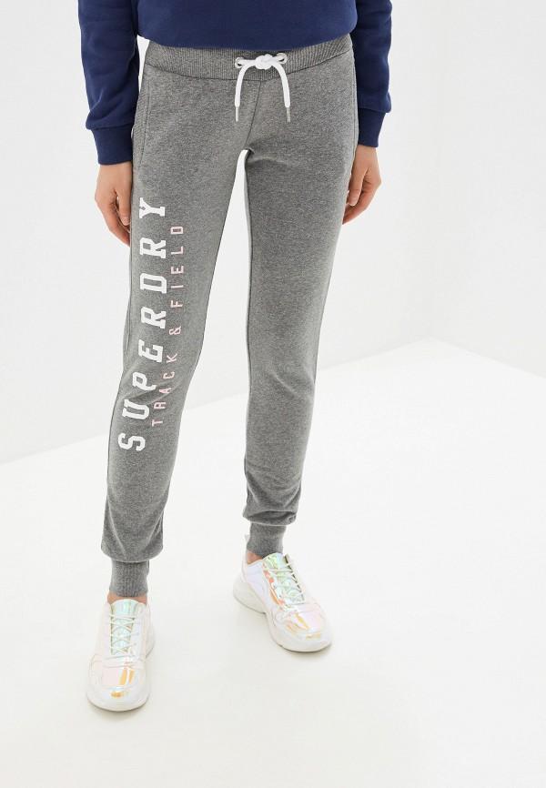 женские спортивные спортивные брюки superdry, серые