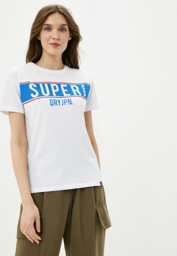 женская футболка superdry, белая