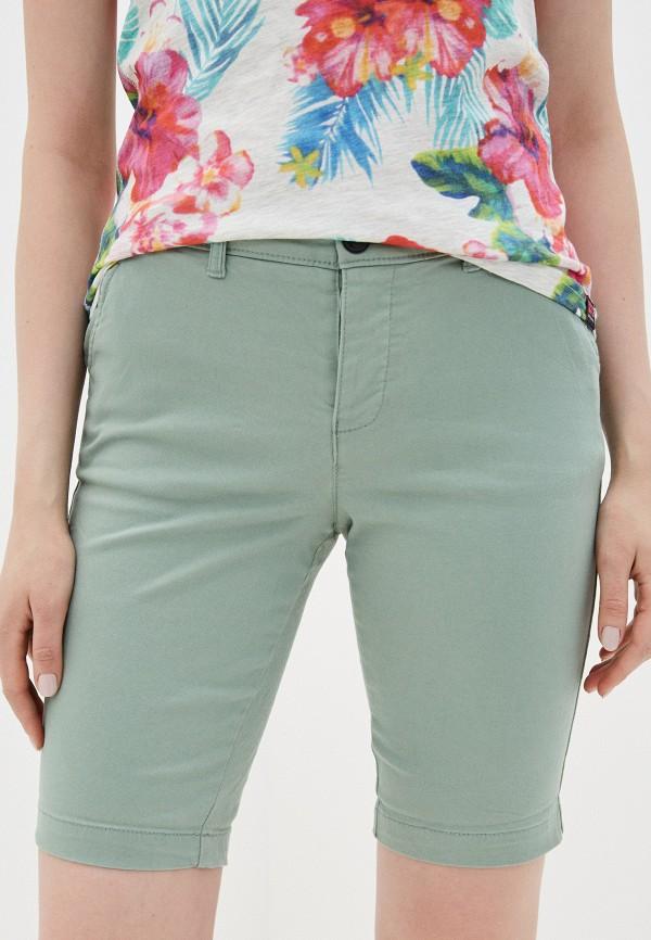 женские повседневные шорты superdry, зеленые