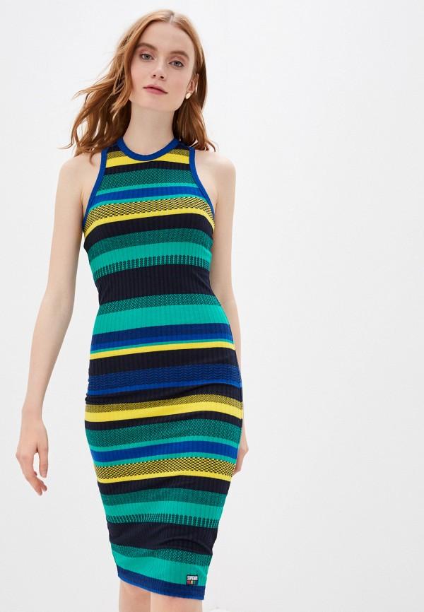 женское платье superdry, разноцветное