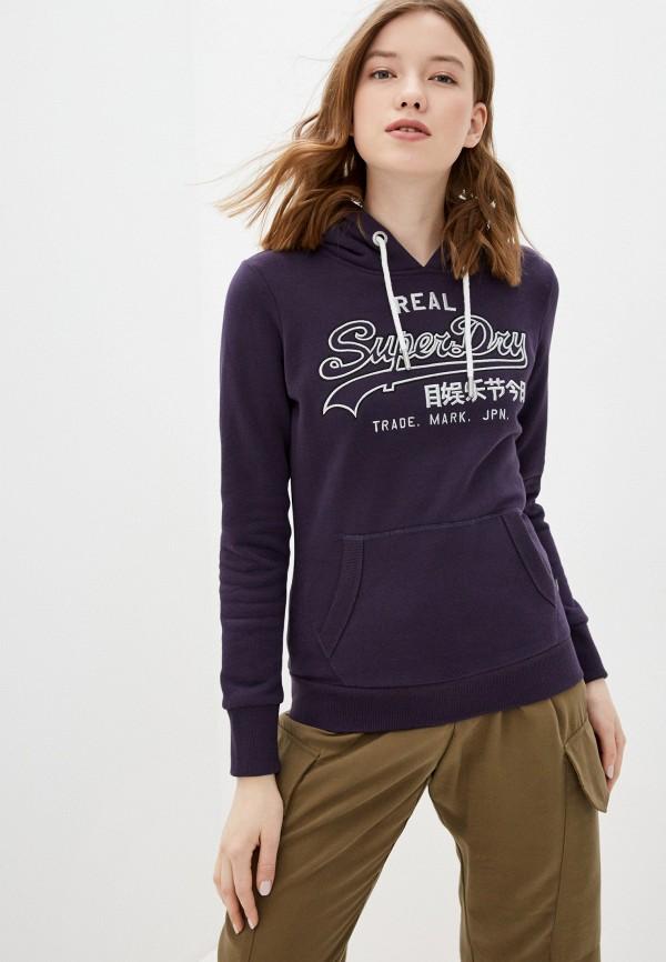 женские худи superdry, фиолетовые