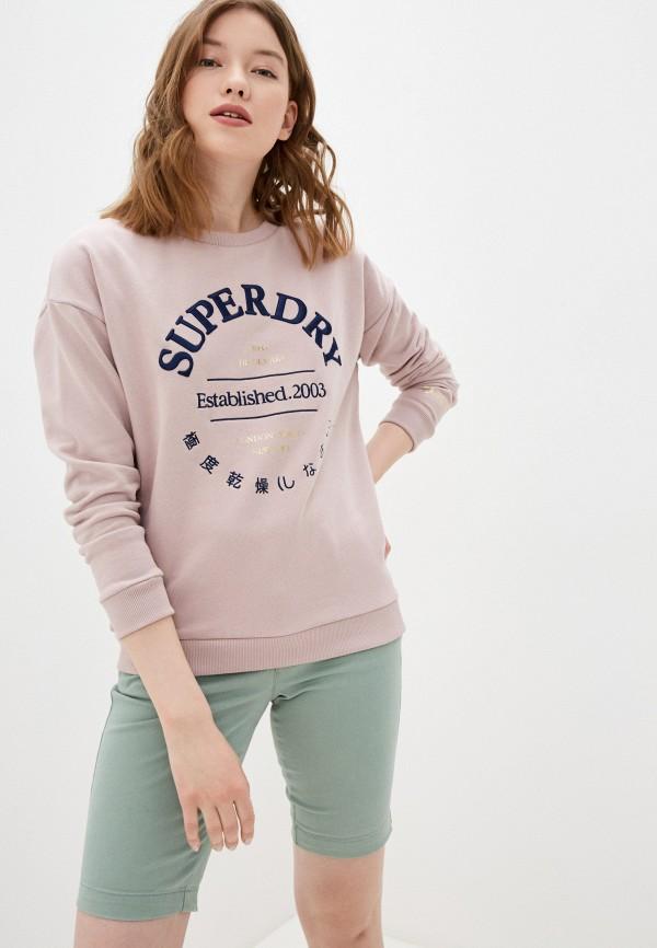женский свитшот superdry, розовый