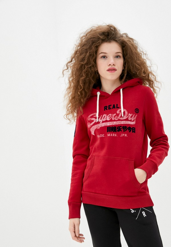 женские худи superdry, красные