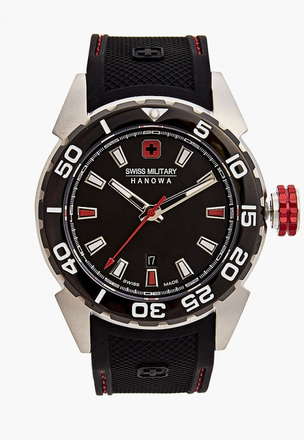 Часы Swiss Military Hanowa, цвет черный 06-4323.04.007.04. Цена: 24999 р. Коллекция: Осень-зима 2020/2021, Пол: men, Сезонность: мульти, Страна-изготовитель: Швейцария - фото 1