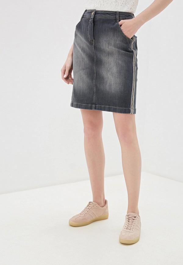 женская джинсовые юбка taifun, серая