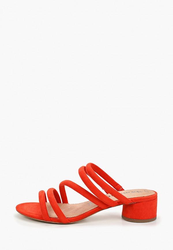 женское сабо tamaris, оранжевое