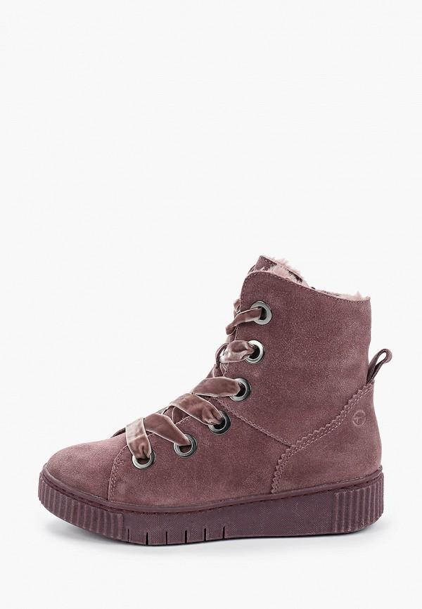 женские высокие ботинки tamaris, фиолетовые