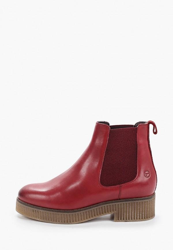 женские ботинки-челси tamaris, красные