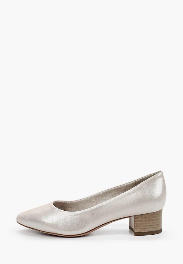 женские туфли с закрытым носом tamaris, серебряные