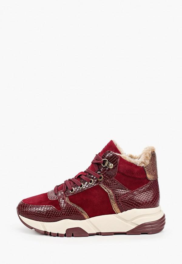 женские кроссовки tamaris, бордовые